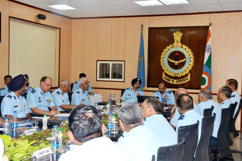 Chief of the Air Staff (CAS) Air Chief Marshal  Arup Raha meets officers during 2-day Station Commanders Conference of the Training Command at the Headquarters Training Command in Bangalore on May ...