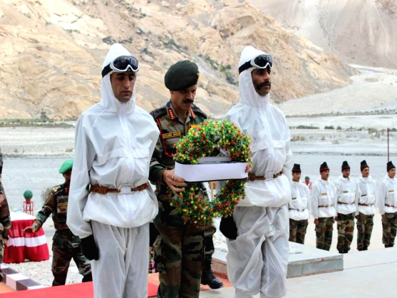 Chief of the Army Staff General Dalbir Singh lays wreath at the Siachen War Memorial to pay tribute to those who made supreme sacrifices for the country, during his three-day visit to Ladakh on Aug ..