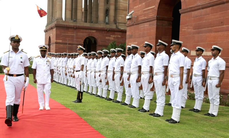 Chief of the Naval Staff, Nigerian Navy, Vice Admiral Ibok-Ete Ekwe Ibas inspects the Guard of Honour, in New Delhi on July 16, 2018.