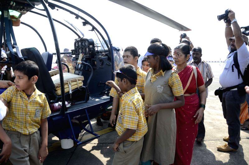 Children aboard INS Shikhra during Navy Week in Mumbai, on Nov 16, 2015.