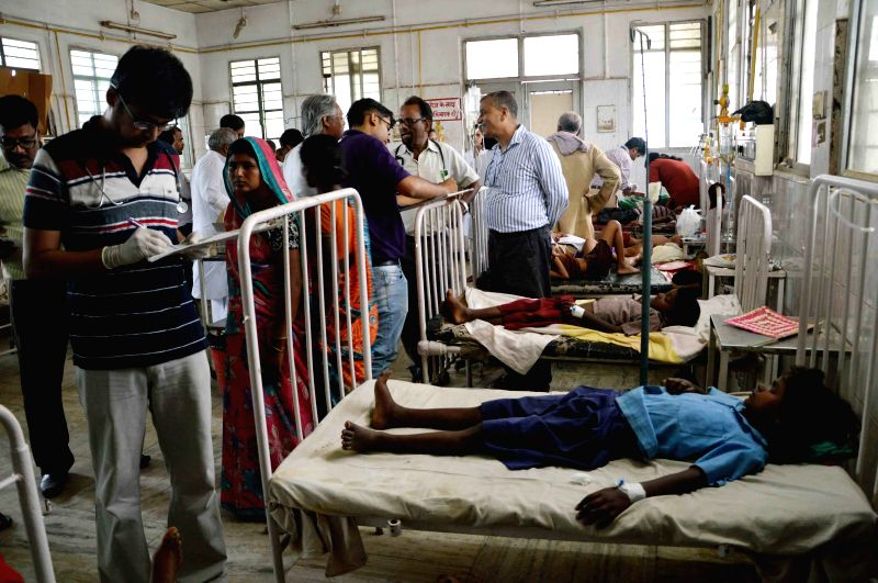Children at a hospital as they fall ill after having Miday Meal at a school near Danapur, Patna on June 25, 2015.