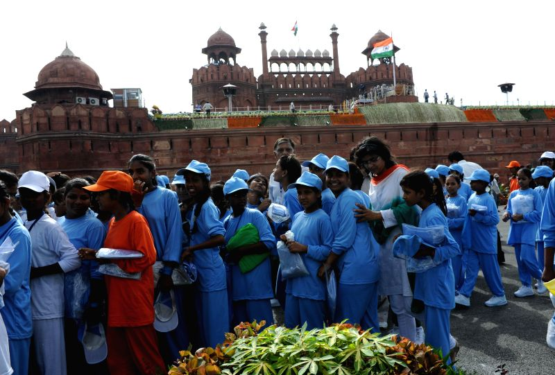 Children at Red Fort during 68th Independence Day celebrations in Delhi on August 15, 2014.