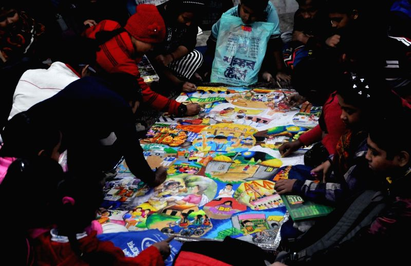 children make greeting cards ahead of new year