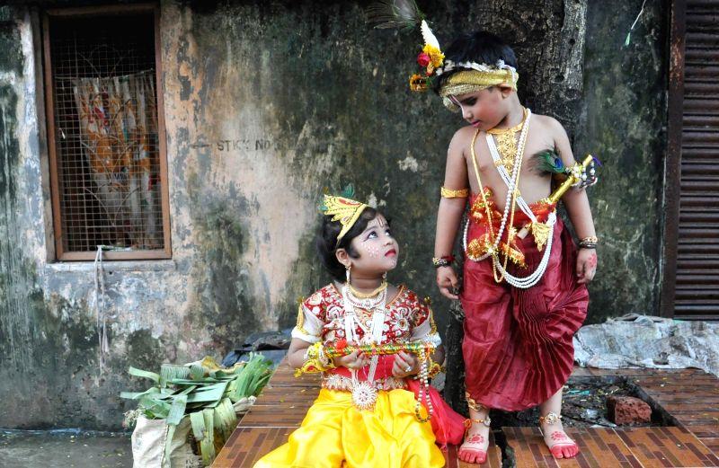 Children dress-up as Lord Krishna