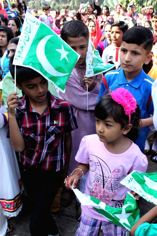 Children during a programme organised at Pakistan High Commission in New Delhi on Pakistan National Day in New Delhi, on March 23, 2015.
