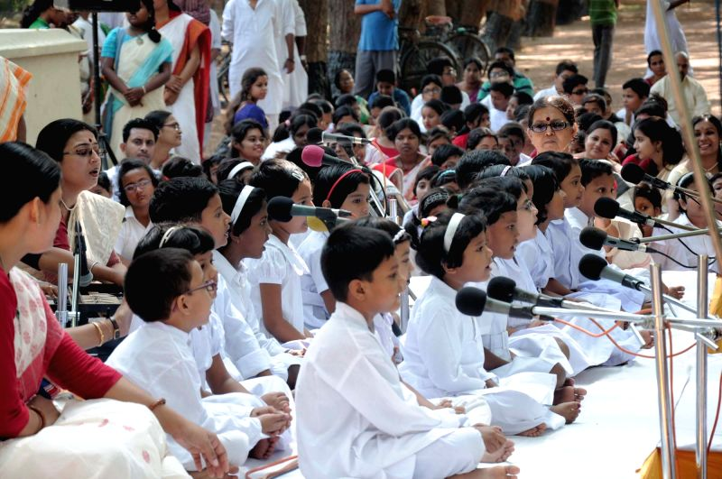 Children during a programme organised to celebrate Rabindranath Tagore's birth anniversary at Santiniketan in West Bengal on May 8, 2016.