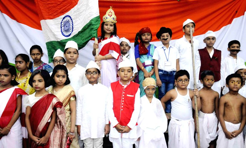 Children during an Independence Day programme organised in Patna in Patna on Aug 12, 2014.