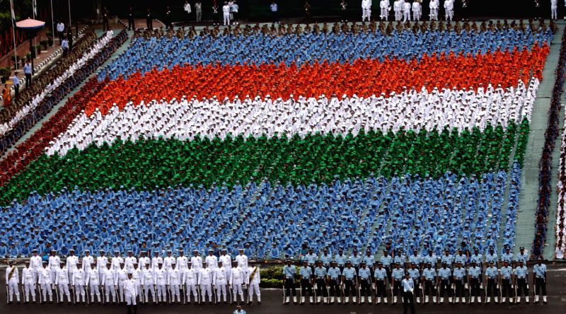 Children in tricolor formation at the Historic Red Fort, on the occasion of Independence Day