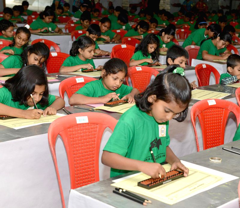 Children participate in Braino-brain fest in Bangalore on July 27, 2014.
