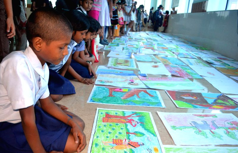 Children participating in the on the spot Art competition organised on the Occasion of 29th National Eye Donation Fortnight at Sri Sankaradeva Nethralaya Eye Bank organized as an Awareness program of