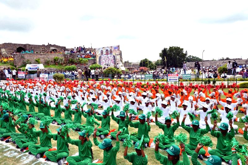 Children perform during Independence Day celebrations at Golconda Fort in Hyderabad