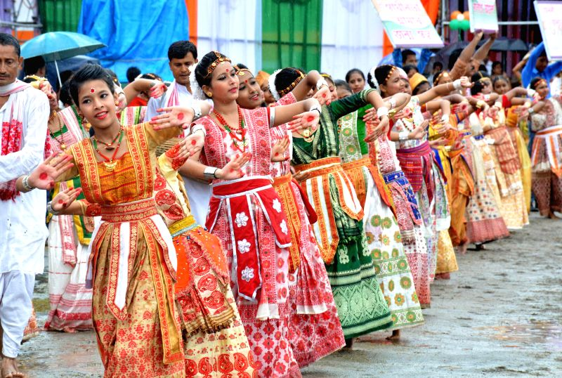 Children perform `Satriya` dance during Independence Day celebrations at Veterinary Field in Guwahati on Aug 15, 2014.