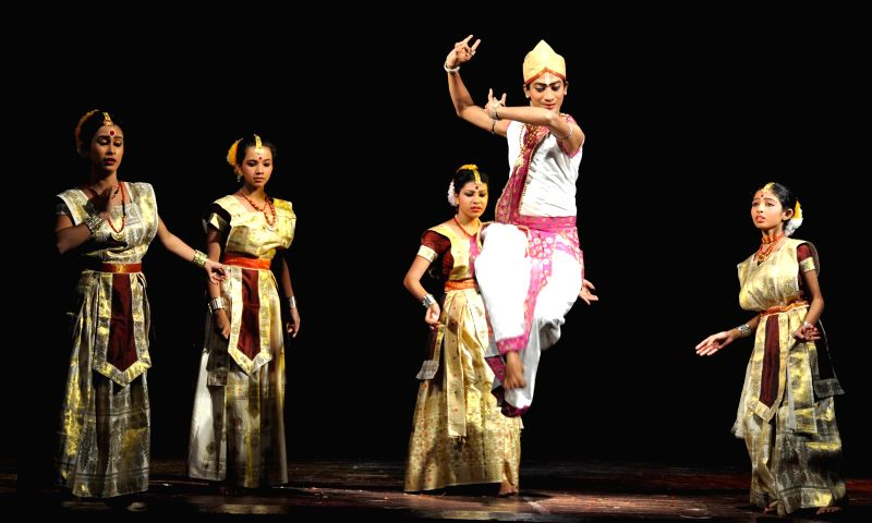 Children perform `Sattriya` dance during `Nrittya-Utsav` organised by Prayas Kala Kendra at District Library Auditorium in Guwahati on Sept 3, 2014.