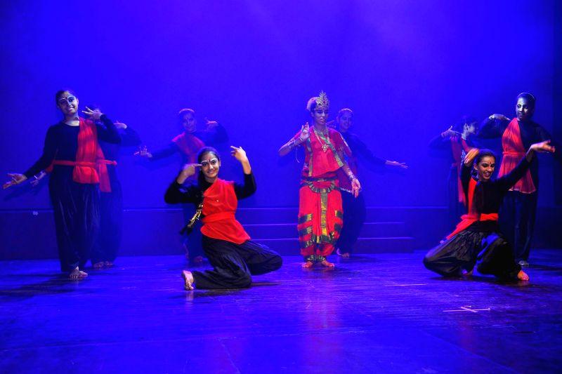 Children stage Rabindranath Tagore's play 'Subha' during 'Bal Utsav - 2014' in New Delhi on June 21, 2014.
