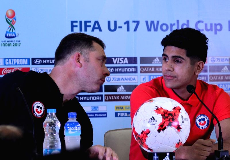 Chile coach Hernan Caputto and player Antonio Diaz during a press conference ahead of FIFA U17 World Cup 2017 at Salt Lake stadium in Kolkata on Oct 7, 2017.