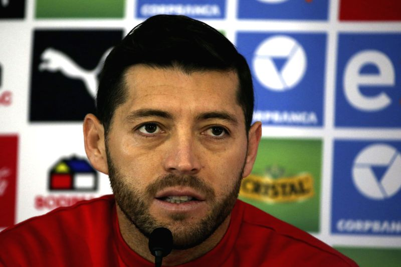 Chilean soccer players Jose Rojas takes part in a press conference at the Fernando Riera Sports facilities, in Santiago, Chile, 01 July 2015. Chile will play against Argentina in the Copa ...