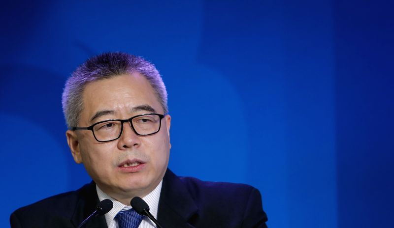 China's chief negotiator Su Wei speaks during an event on the sidelines of  the 2015 United Nations Climate Change Conference (COP 21)  at Le Bourget on the northern ...