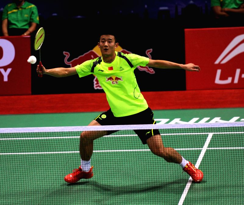 Chinese badminton player Chen Long in action against his French counterpart Brice Leverdez during a Thomas Cup and Uber Cup match at Siri Fort Stadium in New Delhi on May 18, 2014.