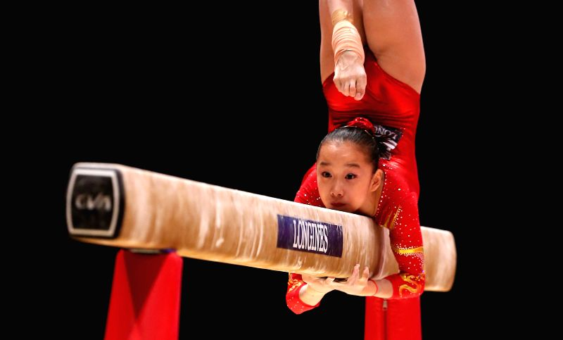 Chinese gymnast Fan Yilin competes during the Balance Beam competition of the women's team final at the 46th World Artistic Gymnastics Championships at the SSE ...