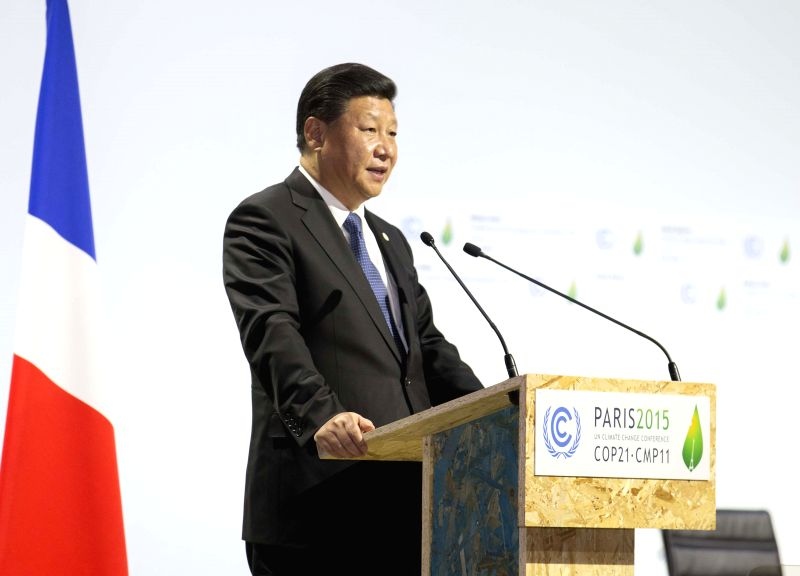 Chinese President Xi Jinping delivers a speech at the opening ceremony of the United Nations (UN) climate change conference in Paris, France, Nov. 30, 2015. ...