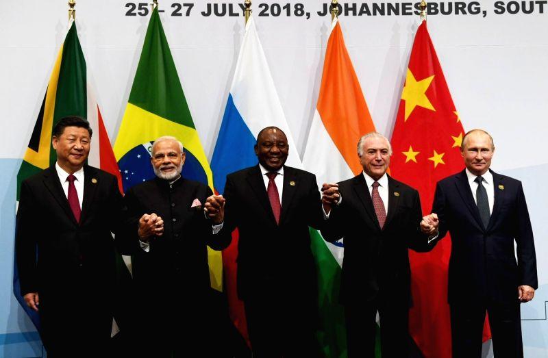 Chinese President Xi Jinping, Prime Minister Narendra Modi, South African President Cyril Ramaphosa, Brazilian President Michel Temer and Russian President Vladimir Putin
