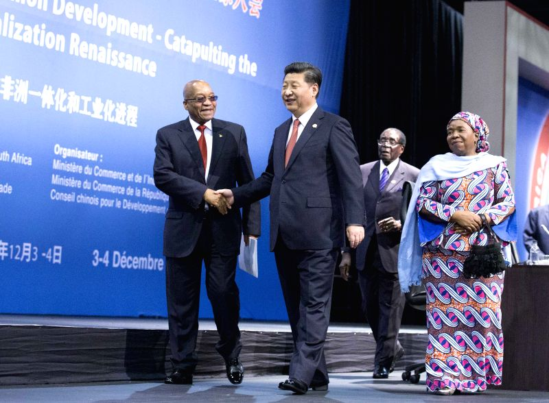 Chinese President Xi Jinping (R, front) attends the high-level dialogue with Chinese and African business dignitaries, also closing ceremony of the fifth ...