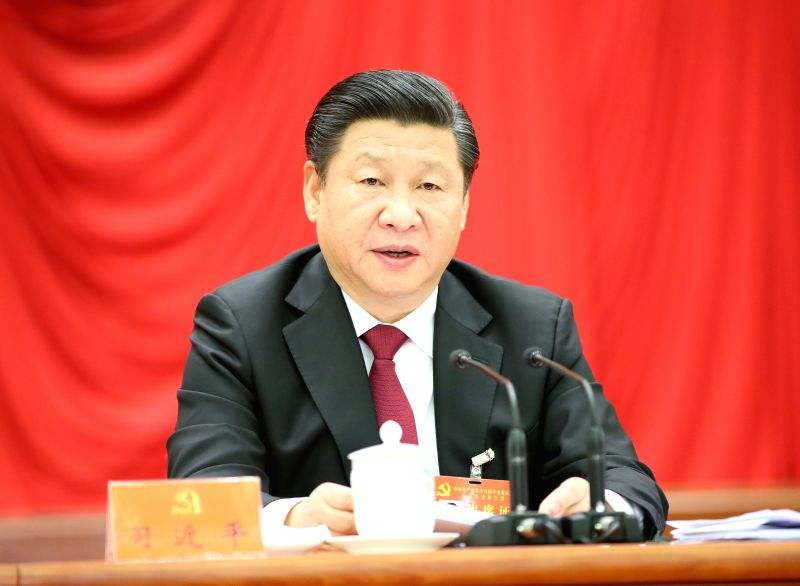 Chinese President Xi Jinping, who is also general secretary of the Communist Party of China (CPC) Central Committee, speaks at the Fifth Plenary Session of the 18th ...