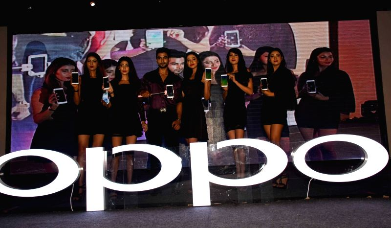 Chinese smartphone maker Oppo launch F3 - another selfie focused smartphone in Patna on April 4, 2017.