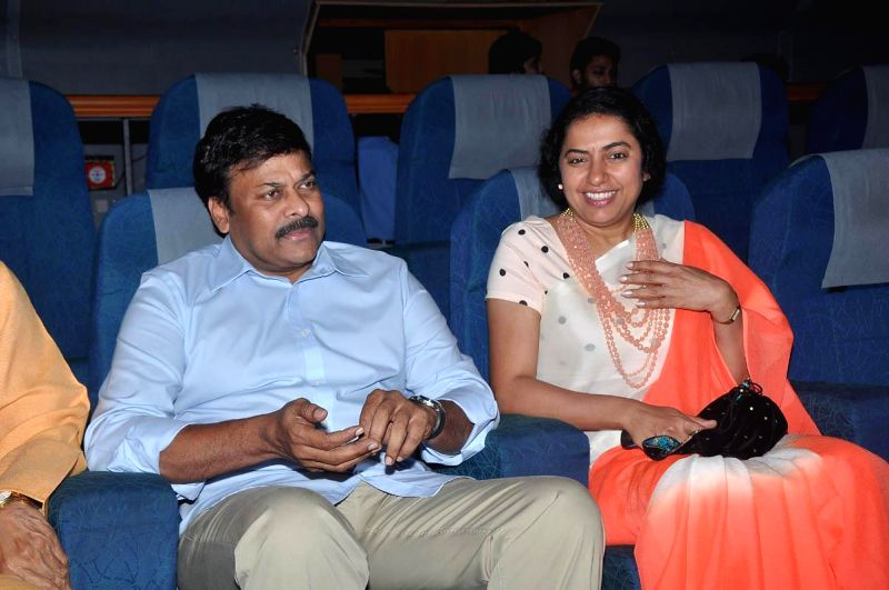 Chiranjeevi, K Viswanath, Suhasini, and Raghavendra Rao watching film `Sachin` in Hyderabad on July 12, 2014. - Raghavendra Rao