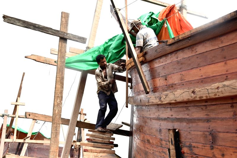 CHITTAGONG (BANGLADESH), June 4, 2017 Workers build a wooden boat in Bangladesh's southeastern seaport city of Chittagong, on May 24, 2017. In riverine Bangladesh, boats are the key means ...