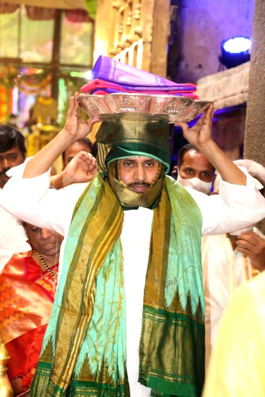 Chittoor: Andhra Pradesh Chief Minister Y.S. Jagan Mohan Reddy participates in the Brahmotsavams where he presented silk raiment to the presiding deity of Lord Venkateshwara Swamy, at the Tirupati temple in Tirupati of Chittoor district on Sep 23, 20