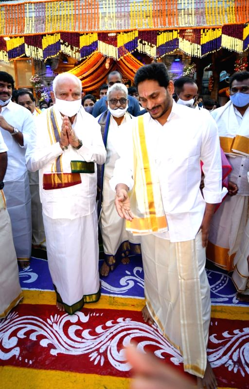 Chittoor: Andhra Pradesh Chief Minister YS Jaganmohan Reddy and his Karnataka counterpart BS Yediyurappa visited Lord Balaji temple in Tirumala at Tirupati in Chittoor district of the state for darshan, on Sep 24, 2020. Tirumala Tirupati Devasthanams