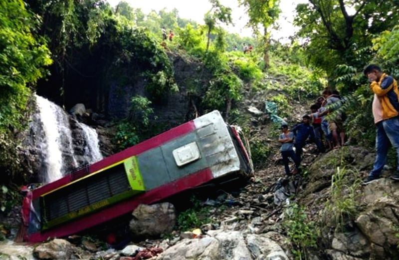 CHITWAN, July 27, 2018 - Photo taken on July 27, 2018 shows the site of a traffic accident in Chitwan, Nepal. At least seven people died and 22 others were injured when a passenger bus collided ...