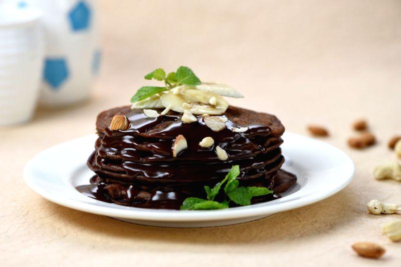 chocolate and banana pancakes 2