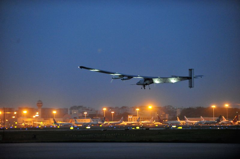 Solar Impulse 2 takes off from Jiangbei International Airport in Chongqing Municipality, southwest China, April 21, 2015. Solar Impulse 2, the world's largest ...