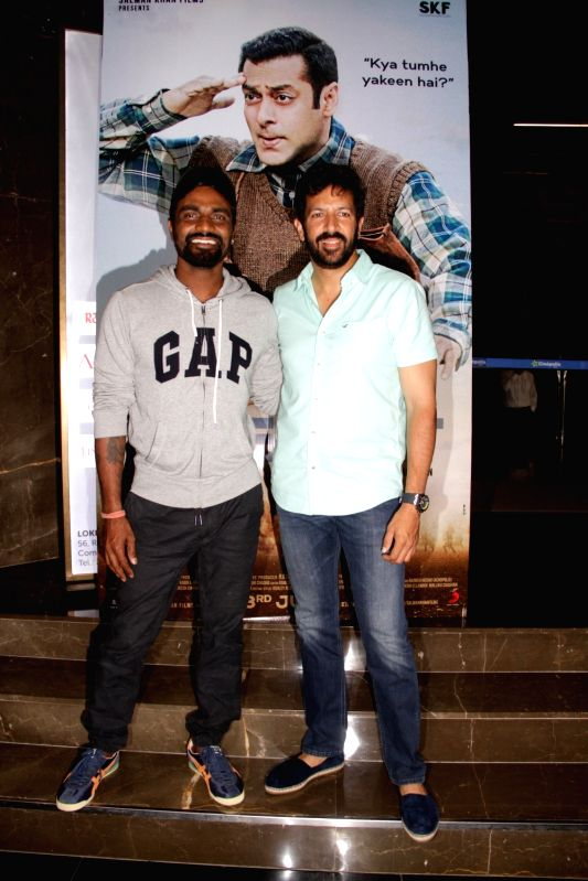 Choreographer Remo D'souza and filmmaker Kabir Khan during the launch of first song of the film Tubelight, 'The Radio Song' in Mumbai on May 12, 2017. - Kabir Khan