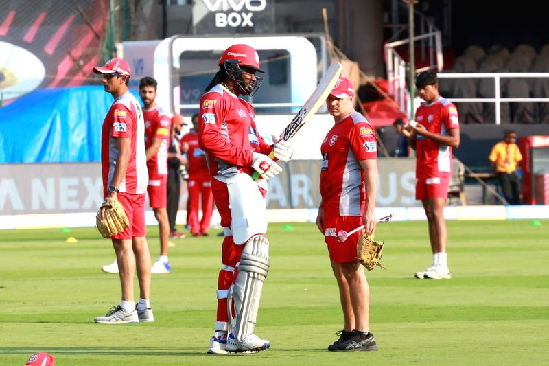Chris Gayle of Kings XI Punjab during a practice session at M. Chinnaswamy Stadium in Bengaluru on April 12, 2018.