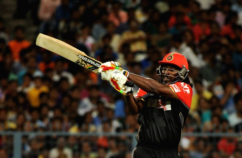 Chris Gayle of Royal Challengers Bangalore in action during an IPL match between Kolkata Knight Riders and Royal Challengers Bangalore in Kolkata, on May 16, 2016.