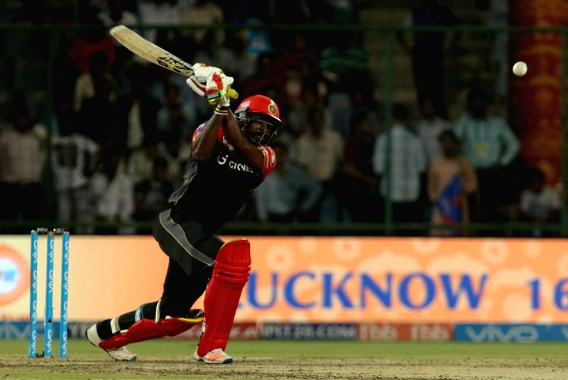 Chris Gayle of Royal Challengers Bangalore in action during an IPL 2017 match between Delhi Daredevils and Royal Challengers Bangalore at Feroz Shah Kotla Ground in New Delhi on May 14, ...