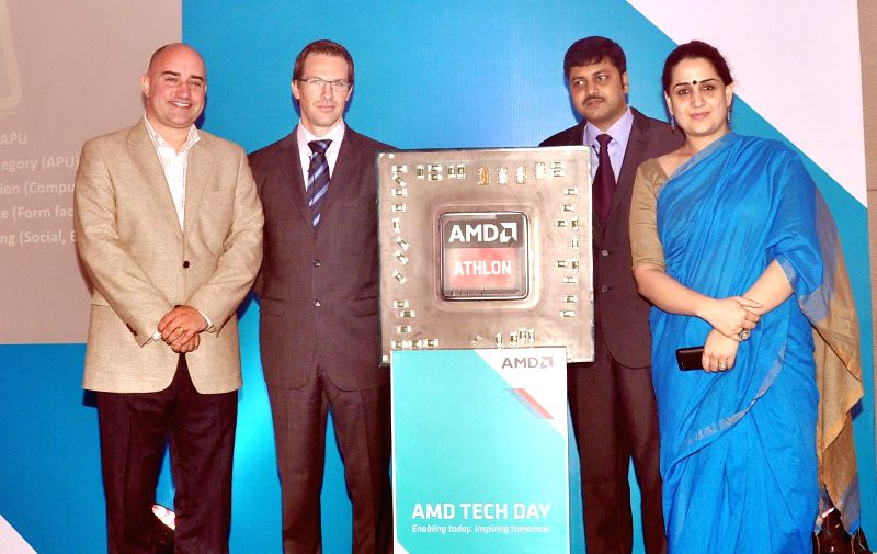 Chris Hook, director PR, AMD, Gabe Gravning director of Marketing AMD, Chandrahs Panigrahi director Channel and Component Business AMD India, Raka Khashu Country Manager Marketing AMD India at the ...
