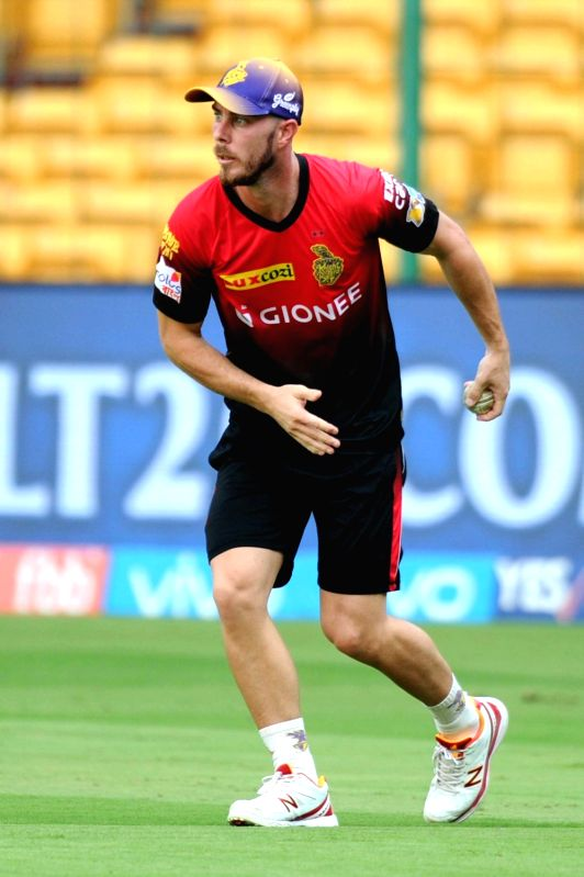 Chris Lynn of Kolkata Knight Riders during a practice session ahead of their playoff match against Sunrise Hyderabad at Chinnaswamy Stadium in Bengaluru on May 16, 2017.