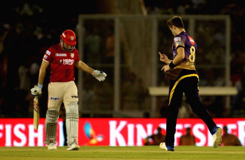 Chris Woakes of Kolkata Knight Riders celebrates fall of Shaun Marsh's wicket during an IPL 2017 match between Kings XI Punjab and Kolkata Knight Riders at Punjab Cricket Association IS ...