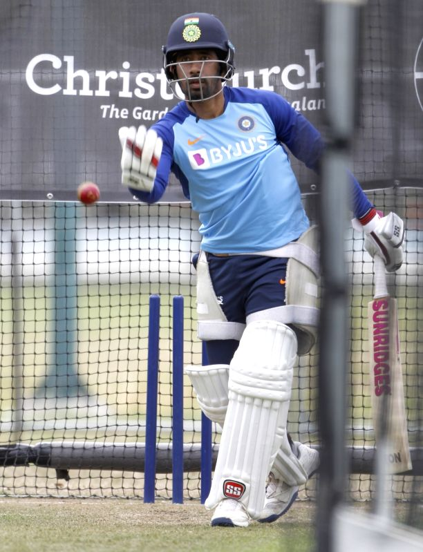 Christchurch: Indian player Wriddhiman Saha during a practice session ahead of the Second Test against New Zealand at the  Hagley Oval cricket ground in Christchurch, New Zealand on Feb 27, 2020. (Photo: Surjeet Yadav/IANS)