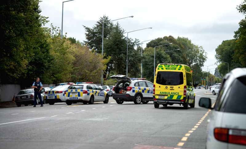 CHRISTCHURCH, March 15, 2019 - Police are seen on a road in Christchurch, New Zealand, March 15, 2019. At least 40 people were killed in mass shootings in two mosques of New Zealand's Christchurch, New Zealand Prime Minister Jacinda Ardern said on Friday.(Image Source: Xinhua/Zhu Qiping/IANS)