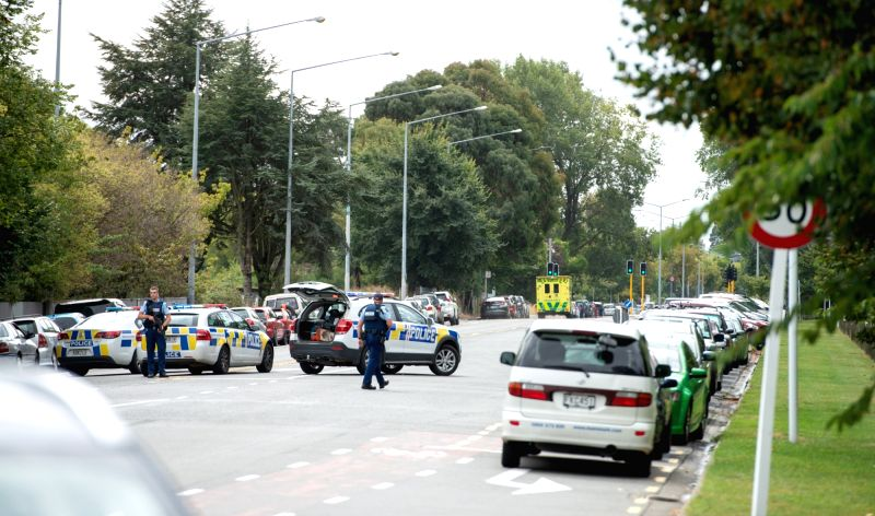 CHRISTCHURCH, March 15, 2019 (Xinhua) -- Police are seen on a road in Christchurch, New Zealand, March 15, 2019. At least 40 people were killed in mass shootings in two mosques of New Zealand's Christchurch, New Zealand Prime Minister Jacinda Ardern (Image Source: IANS News)