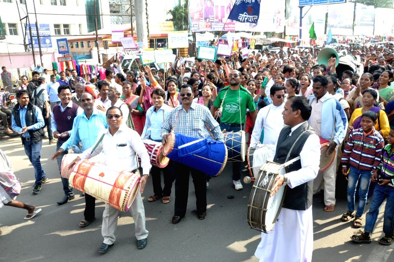 "Christians participate in ""Khrist Raja"" a religious procession in Ranchi on Nov 22, 2015."