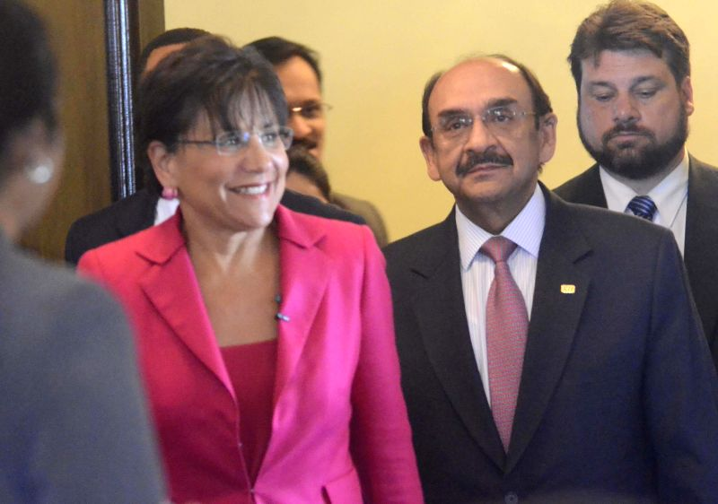 CII President Ajay Shriram with US Commerce Secretary Penny Pritzker during a programme in Mumbai on on July 30, 2014.