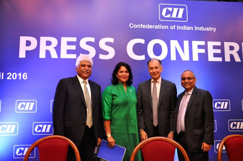 CII President Dr Naushad Forbes (2nd from R) during a press conference in New Delhi on April 6, 2016.