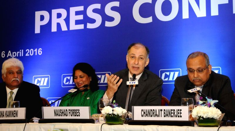 CII President Dr. Naushad Forbes addresses a press conference in New Delhi on April 6, 2016.