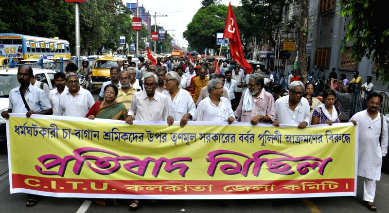 CITU members stage a demonstration against lathi charge on tea garden workers in Kolkata, on June 14, 2017.